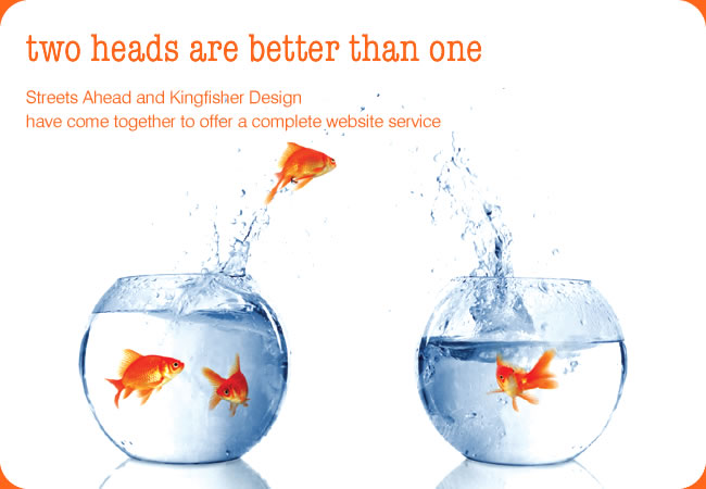 two heads are better than one - Streets Ahead and Kingfisher Design have come together to offer a complete website service